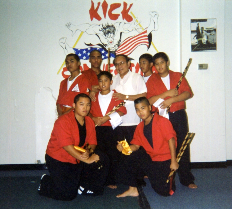 Marana, Gamboa & Dona Brothers with Grandmaster Dr. Pat at Kick Connection, 1998