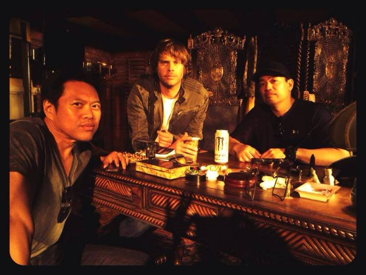 Tuhon Raf, Deeks and Tuhon Carl on the set of NCIS: LA