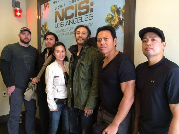 Sayoc crew on the set of NCIS: LA