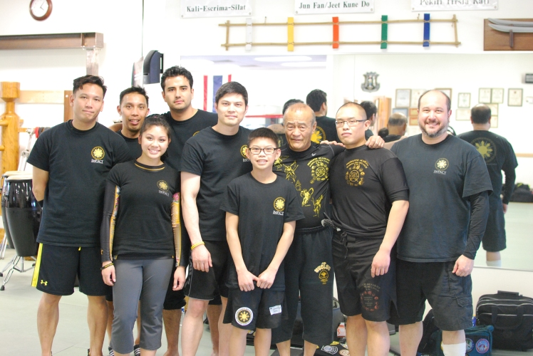 Guro Ervin Quintin, his son and the Impact Crew, along with Guro Dan Inosanto and myself.